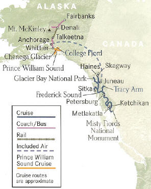 Alaska's Inside Passage Cruise + Denali National Park and Preserve + Prince William Sound Cruise