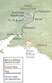 Glacier Wonderlnad Cruise + Extraordinary Wilderness Lodge 10 Days, 9 Nights Fairbanks to Whittier/Anchorage