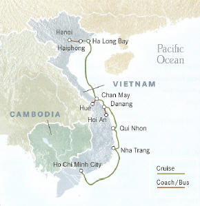 Vietnam Cruise 91a Hanoi to Ho Chi Minh City 12 Days, 11 Nights or Reverse Cruise 92a